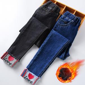 女童牛仔裤春秋裤子大童加绒洋气12岁15女孩2019新款儿童长裤加厚