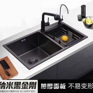 304纳米手工水槽双槽加厚 厨房台下水池洗碗池黑色不锈钢洗菜双盆