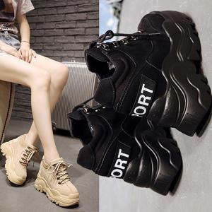 运动鞋女ins百搭网红新款潮酷2020高跟春秋厚底内增高小熊老爹鞋