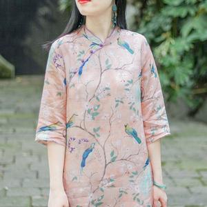 念江南苧麻中國風旗袍改良版連衣裙女夏棉麻復古寬松立領印花裙子