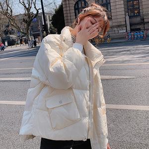 潮牌羽絨服女2020年新款時尚洋氣面包服冬季短款輕薄白鴨絨外套潮