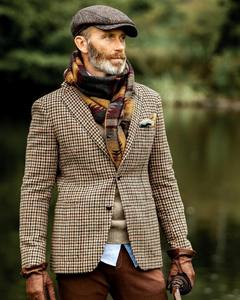 新款粗花呢千鸟格平驳领修身版前贴袋西装夹克两粒牛皮扣单西外套