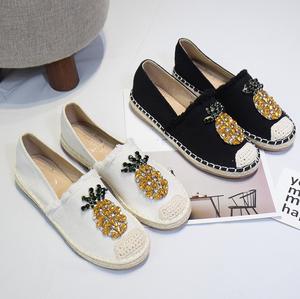韩国2018秋季热带风单鞋女菠萝水钻毛边渔夫鞋单鞋编织休闲懒人鞋