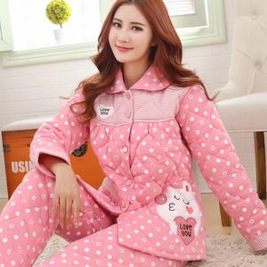 秋冬季女士長袖裏外針織純棉加厚夾棉襖全棉睡衣特大碼套裝家居服