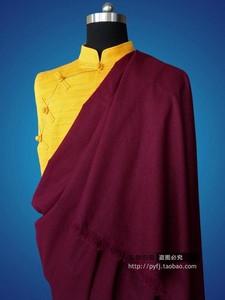 喇嘛服装佛教僧服藏传僧衣上师衣服多规格加长紫红色棉麻披单