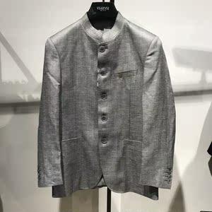 格罗品牌男士商务休闲羊毛+亚麻+粘纤立领西服春夏可配裤子  4060