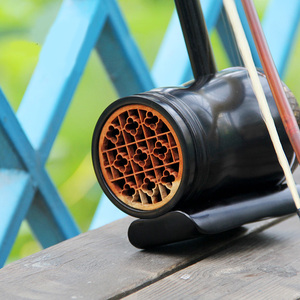 黑檀木圆筒广东音乐曲高胡乐器演奏使用厂家促销赠盒琴码琴弓松香图片
