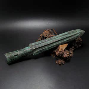 古玩杂项旧货仿古春秋战国青铜器老兵器青铜矛室内陈设装饰品道具
