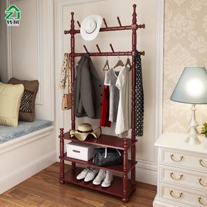 實木衣帽架落地臥室門廳置物架簡約現代衣服架歐式客廳房間掛衣架