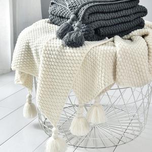 ins北歐風沙發蓋毯辦公室午睡毯子流蘇針織球毛線休閑空調小毛毯