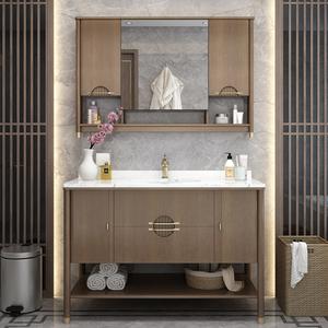 卫浴新中式实木浴室柜组合落地式洗?#35802;?#25163;盆镜柜卫生间?#35789;?#21488;盆柜