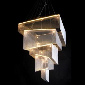 北欧LOFT创意后现代流苏链条客厅餐厅吊灯楼梯复式楼酒店灯具灯饰