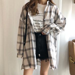 夏季2019韩版宽松百搭学生长袖格子衬衫女中长款防晒衣衬衣外套
