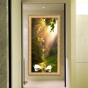 包郵歐式風景畫玄關過道走廊裝飾畫客廳臥室書房掛畫天鵝發財樹