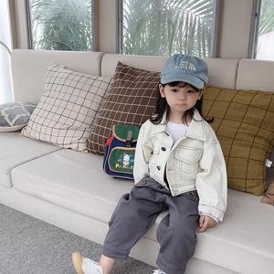 女童外套2019新款春秋款白色牛仔洋气秋装儿童时髦韩版短款上衣潮