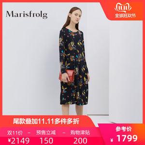 雙11預售瑪絲菲爾純羊毛連衣裙印花女2019秋季新款長袖寬松裙子