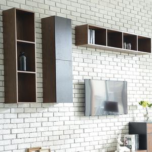 北欧壁柜 现代简约挂柜组合 黑胡桃木色电视背景墙柜 电视柜吊柜