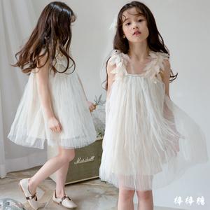 韓國女童連衣裙夏季小女孩韓版花朵兒童吊帶裙中大童公主禮服紗裙