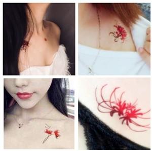 买一送一 彼岸千年之花曼殊沙华红色彼岸花彩色防水纹身贴男女
