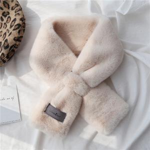 仿獺兔毛毛絨小圍巾女韓版可愛百搭秋冬季交叉圍脖網紅護頸毛領