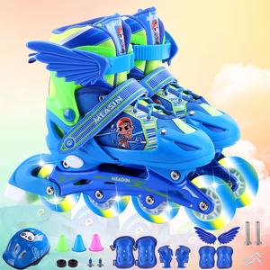 【限时特价优惠】儿童溜冰鞋全套装小孩轮滑鞋可调闪光直排轮单排