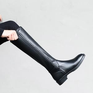 平底鞋子女中長款長靴子平跟皮靴春秋冬天不過膝半靴真皮高靴秋季