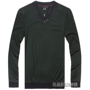 利郎春季针织衫男士商务休闲v领套头毛衣专柜正品草绿色4qtx0081y