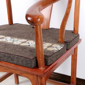 中式棉麻椅子坐垫红木沙发坐垫古典?#30340;?#39184;椅圈椅海绵垫棕垫冬定做