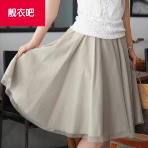 韩版加大码雪纺半身裙女中长款显瘦松紧腰网纱蓬蓬裙