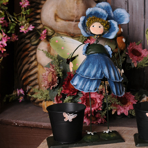 创意家居可爱铁皮娃娃大号笔筒铁艺工艺品结婚生日礼物花仙子
