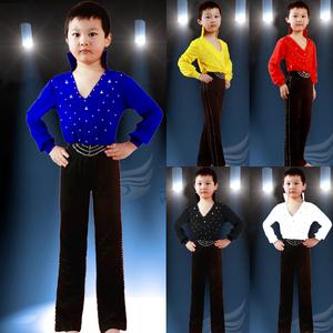 男童拉丁舞台表演服 男孩拉丁舞服装拉丁舞长袖新款考级服装长袖