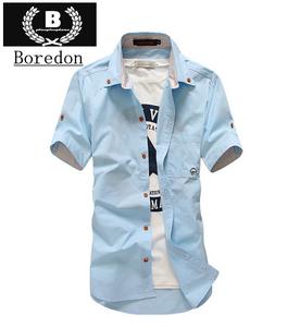 男士短袖衬衫2019新款夏装休?#34892;?#36523;时尚韩版小蘑菇青年半袖衬衣潮
