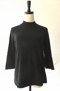 日本原单样衣真丝羊绒黑色半高领侧面开叉针织套头毛衣440653