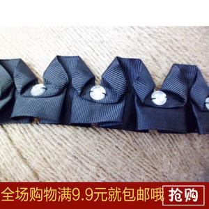 釘珠打皺褶花邊 DIY手工花邊輔料黑色羅文帶打折花邊衣服輔料配飾