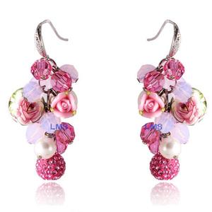 复古粉色珍珠粉晶水晶耳环女纯银韩国长款流苏无耳洞时尚气质耳坠