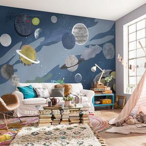儿童房壁纸男孩蓝色星空星球卧室背景墙加厚防潮墙布北欧风格墙纸图片