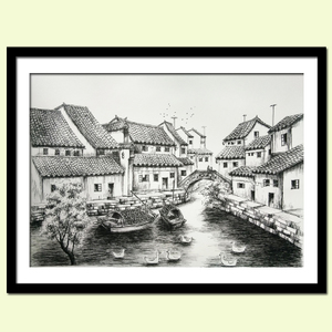 钢笔画/现代黑白装饰画/钢笔风景画/江南水乡/建筑手绘速写/包邮
