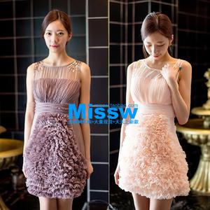 韓國代購氣質名媛仙女淑收腰蛋糕年會派對伴娘新晚裝小禮服連衣裙