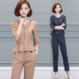 017春装新款时尚套装女韩版修身气质显瘦上衣小脚裤休闲两件套潮