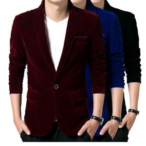 青年休闲灯芯绒西装款男士修身韩版上衣单件金丝绒小西服平绒外套