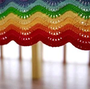 纯手工编织毯子 毛线毯 波浪彩虹毯 宝宝手工 盖被