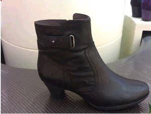 專柜正品BATA拔佳女鞋17新秋款女靴中跟粗跟真皮短靴子AWD63