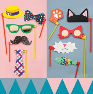 开学趣味派对拍照胡子猫咪耳朵道具周岁生日party可爱搞怪道