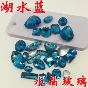 玻璃蓝尖底湖水水晶钻异型宝石贴钻diy手机壳材料包v玻璃饰品配件自行车脚撑支撑图片
