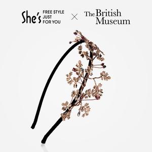 shes大英博物馆正版授权 花意的复生宽发箍头箍发卡夹头花头饰