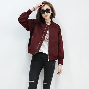 韩国春秋2019休闲加棉BF风加绒棒球服女短款飞行员夹克红色外套