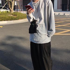 Len equip高街宽松长袖t恤男ins超火潮流百搭破洞设计纯色长袖t恤