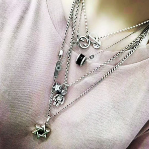 韩国定制925纯银六芒星长款项链男女情侣毛衣链复古街头嘻哈配饰
