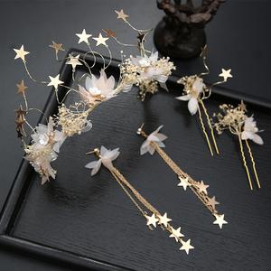 干花满天星头饰饰品发箍手工干花满天星花瓣花环新娘饰品结婚发饰
