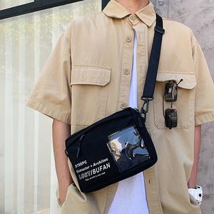 斜挎包男ins潮流韩版学生背包单肩帆布小包潮牌男生包包蹦迪包